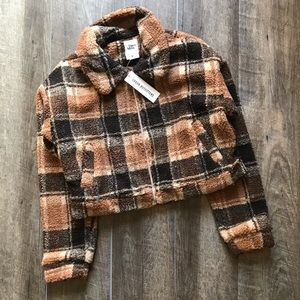 NEW Urban Outfitters Brown Plaid Teddy Coat Large